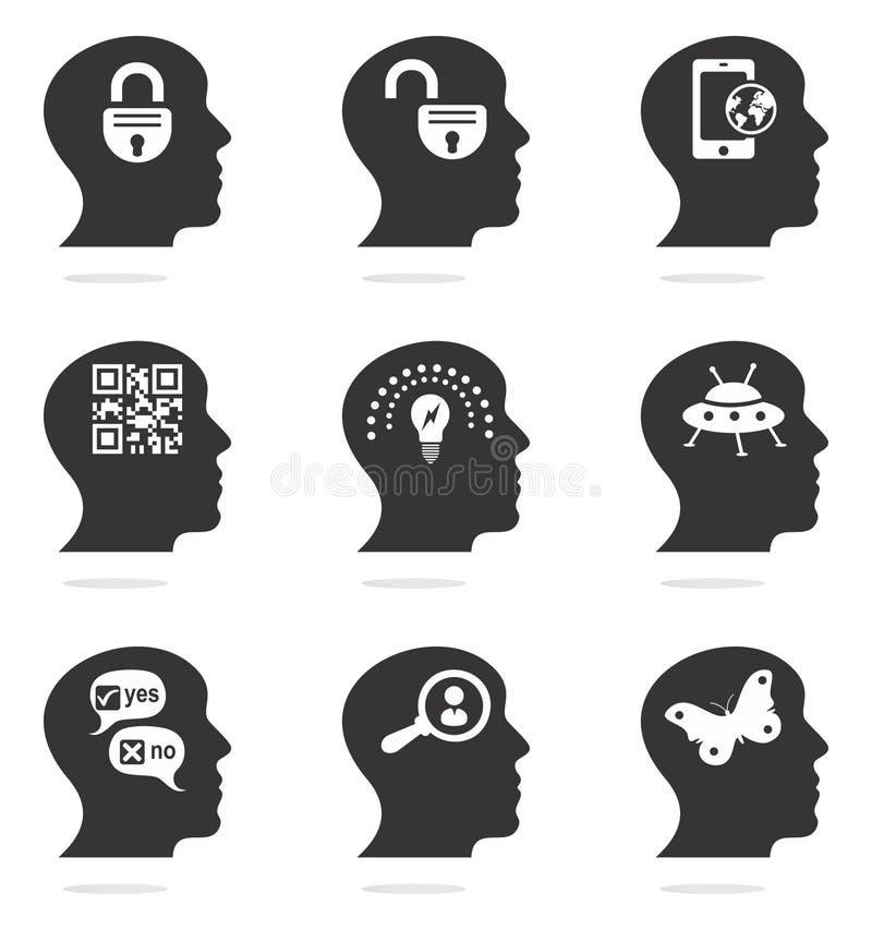 Tänkande head kontursymboler