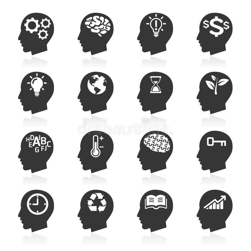Tänkande huvudsymboler för affär. royaltyfri illustrationer