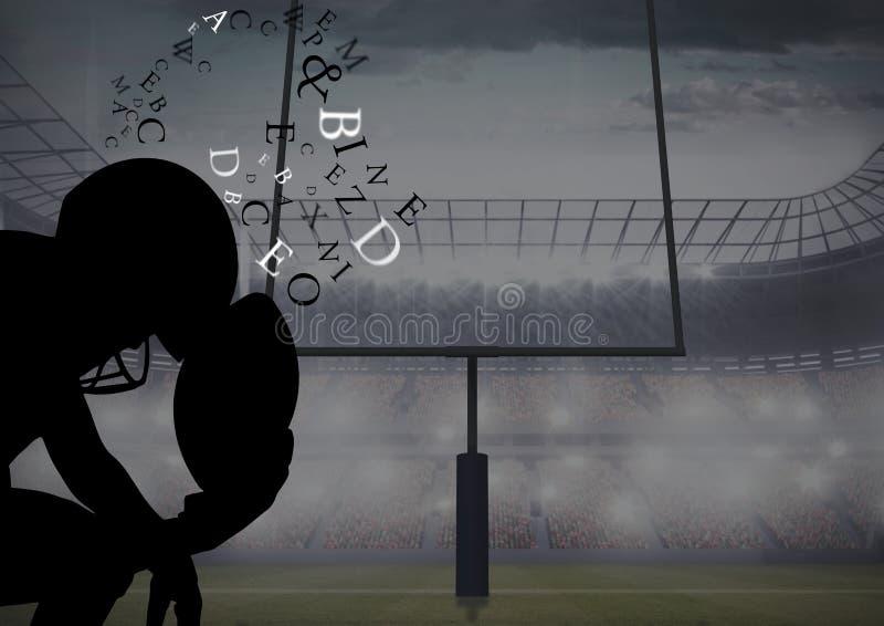 tänkande kontur för fotbollsspelare i fältet med text runt om huvudet stock illustrationer