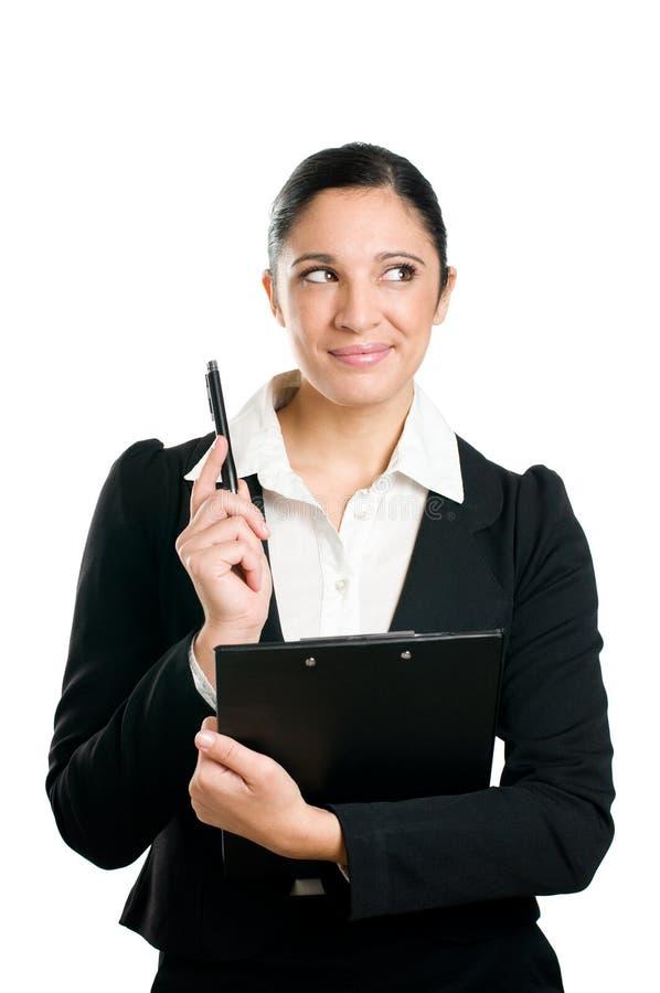 tänkande kvinna för affär royaltyfri bild