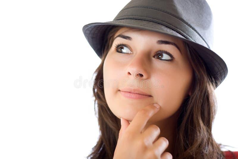 tänkande kvinna för stående arkivfoto