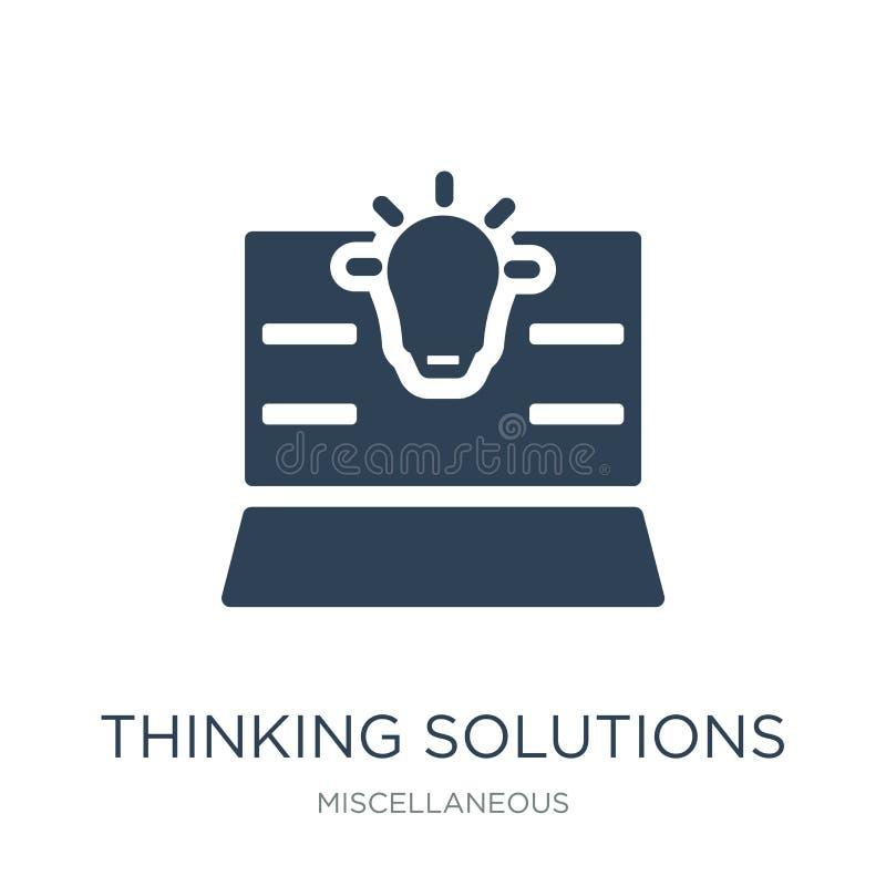 tänkande lösningssymbol i moderiktig designstil tänkande lösningssymbol som isoleras på vit bakgrund tänkande lösningsvektor vektor illustrationer