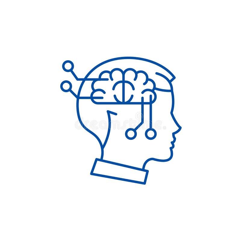 Tänkande linje symbolsbegrepp för dator Dator som tänker det plana vektorsymbolet, tecken, översiktsillustration royaltyfri illustrationer
