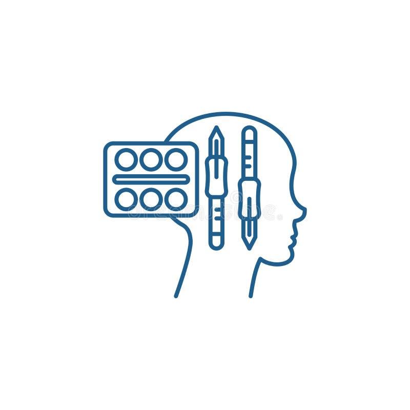 Tänkande linje symbolsbegrepp för design Design som tänker det plana vektorsymbolet, tecken, översiktsillustration stock illustrationer
