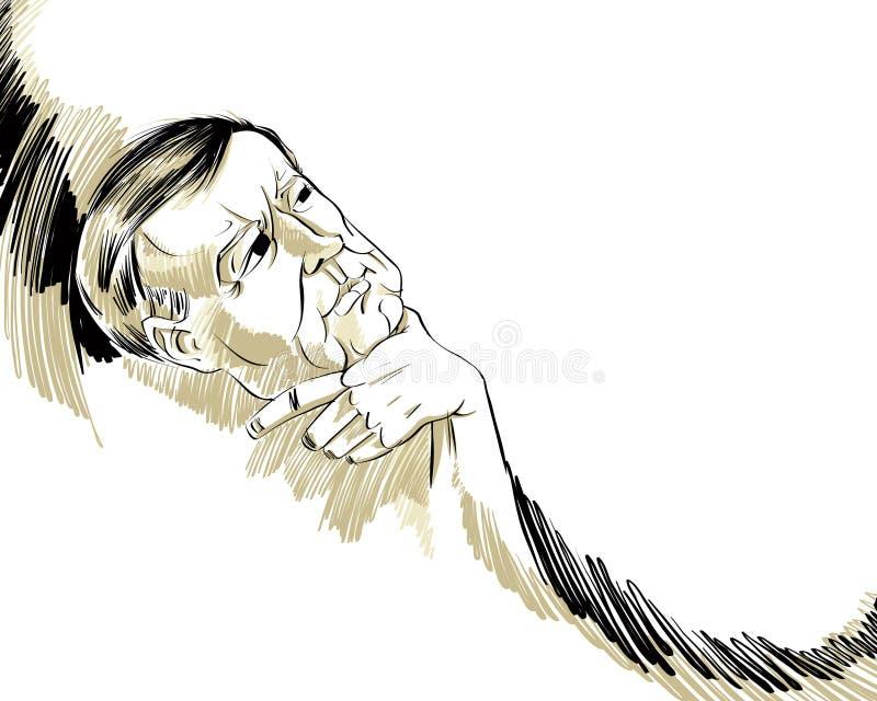 Tänkande man. stock illustrationer
