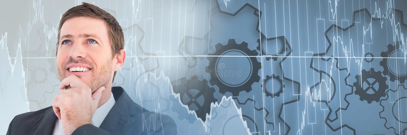 Tänkande man med övergång för kuggehjul- och aktiemarknaddiagram stock illustrationer