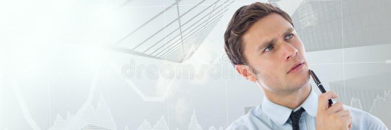 Tänkande man med himmelskrapor och pilar av aktiemarknadövergången stock illustrationer
