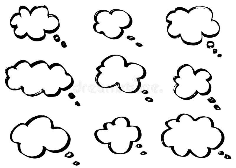Tänkande moln för klotter, pratstundtecknad filmbubblor Hand dragen uppsättning royaltyfri illustrationer