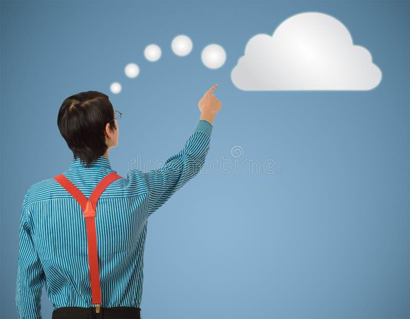 Tänkande moln för Nerdgeekaffärsman eller beräkning royaltyfri fotografi