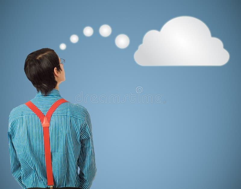 Tänkande moln för Nerdgeekaffärsman eller beräkning fotografering för bildbyråer