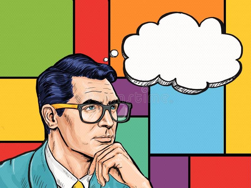 Tänkande pop Art Man för tappning med tankebubblan Etikett för tetidtappning Man från komiker Gentlemanklubba funderare tanke, id stock illustrationer