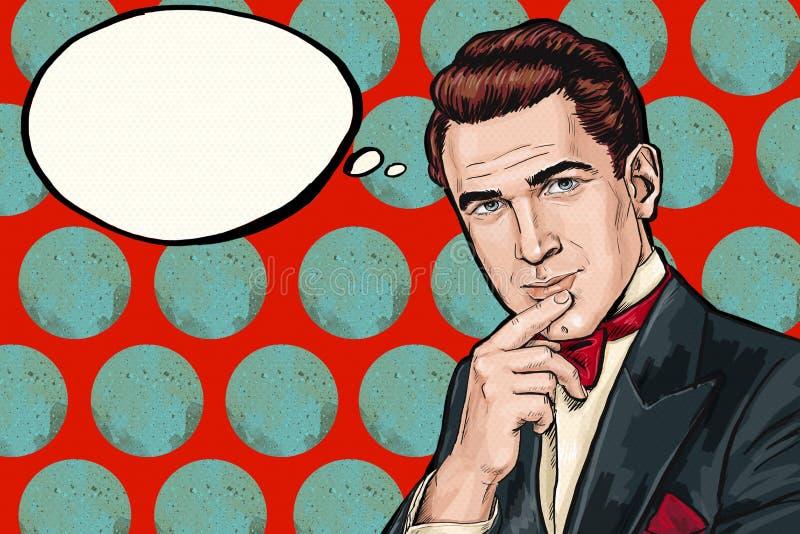 Tänkande pop Art Man för tappning med tankebubblan Etikett för tetidtappning Man från komiker snobbigt Gentlemanklubba funderare  stock illustrationer