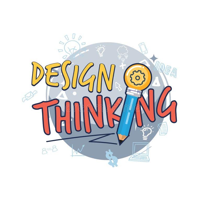 Tänkande symbol för design tänkande logotyp för design eller typografisk royaltyfri illustrationer