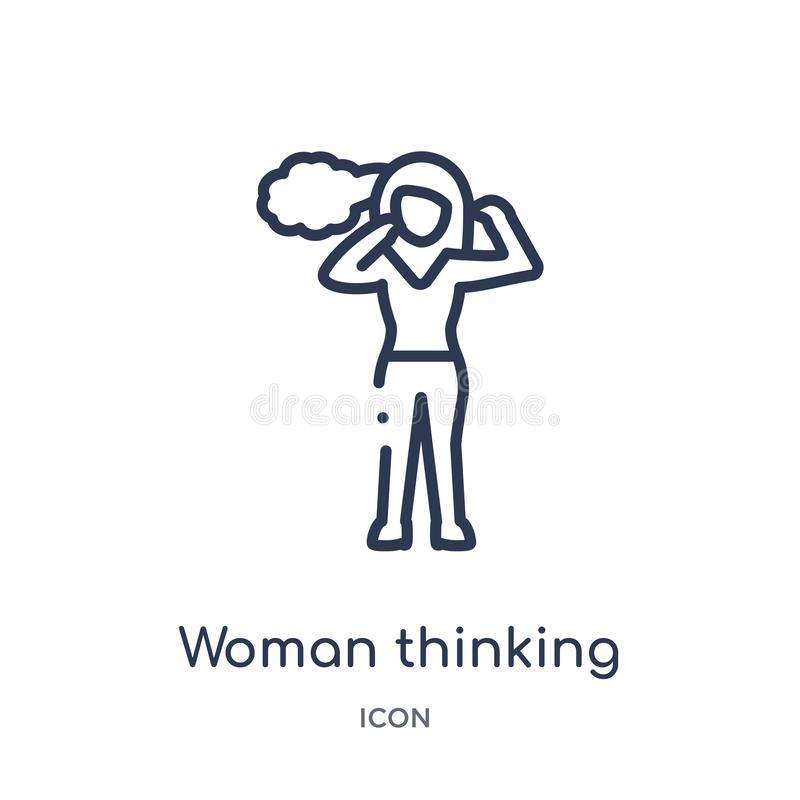Tänkande symbol för linjär kvinna från damöversiktssamling Tunn linje tänkande symbol för kvinna som isoleras på vit bakgrund Kvi vektor illustrationer