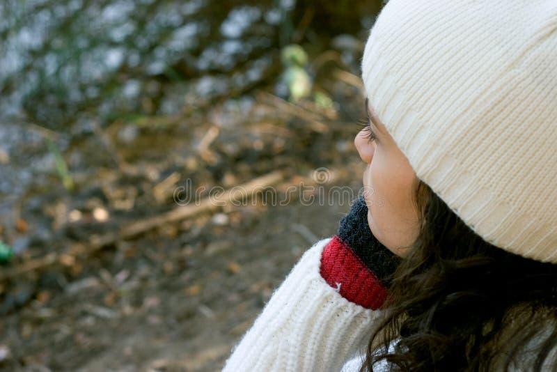 tänkande vinter för flicka arkivbilder
