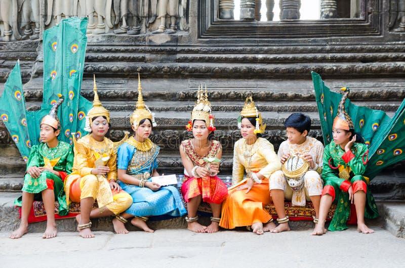 Tänzer Angkor Wat, Kambodscha stockfotografie
