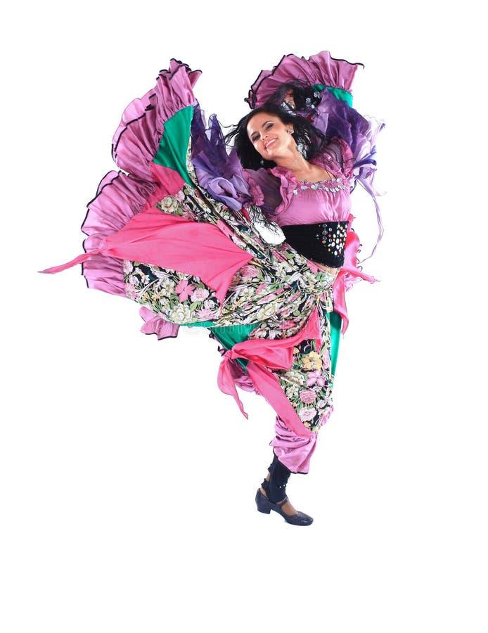 Tänzer der jungen Frau in einem Zigeunerkostüm stockbilder