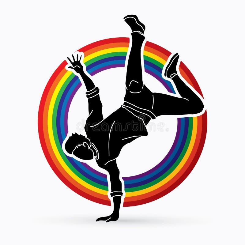 Tänzer, Hip-Hop, Straßen-Tanz, b-Junge, Tanzaktions-Grafikvektor vektor abbildung