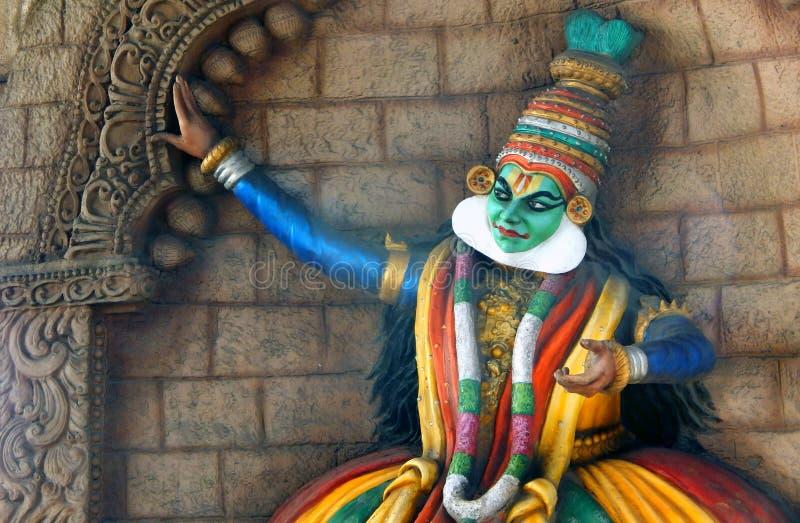 Tänzer Inderkeralas traditionelle Kathakali Wall-Kunst lizenzfreie stockbilder