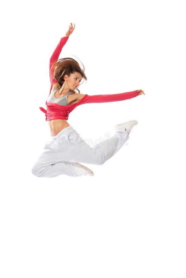 Tänzerfrau, die Hip-hopart springt stockfoto
