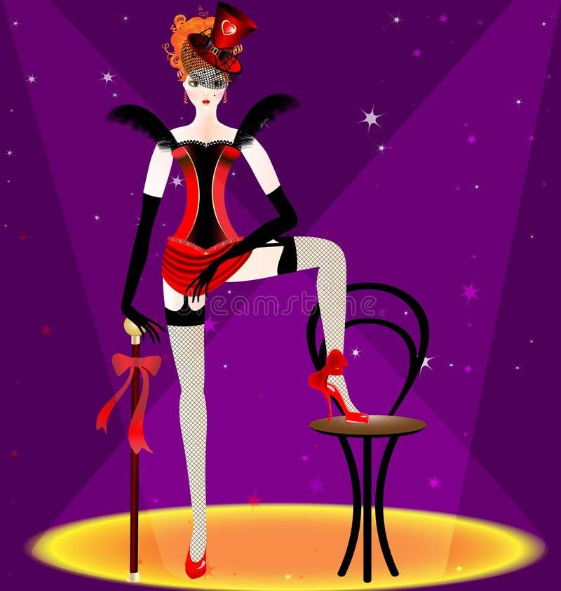 Tänzerfrau im Rot stock abbildung