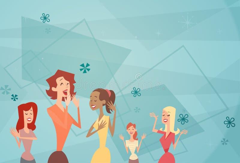 Tänzerin-Gruppen-glückliche Karikatur-Frauen-Fahne lizenzfreie abbildung