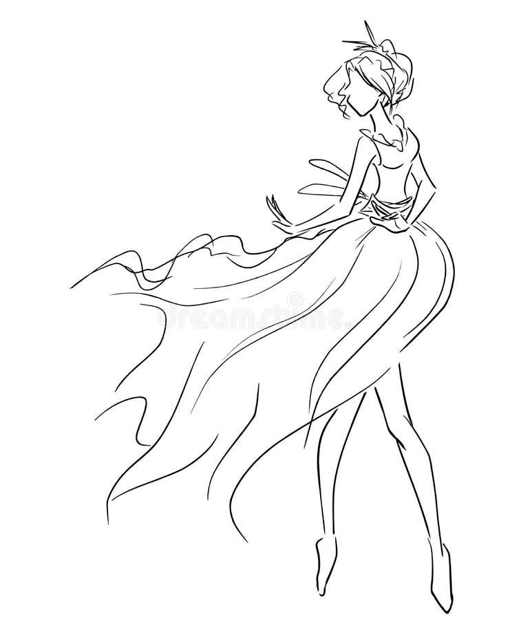 Tänzerin im luftigen Kleid vektor abbildung