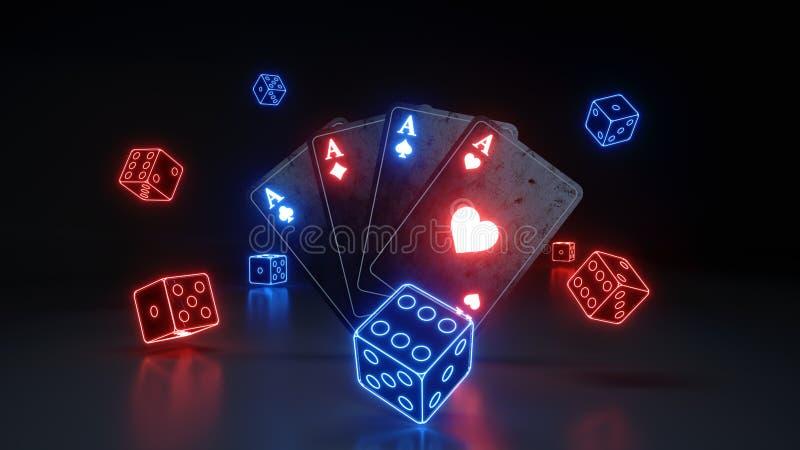 Tärnar spela kort för överdängare och med glödande neonljus som isoleras på den svarta bakgrunden - illustrationen 3D vektor illustrationer