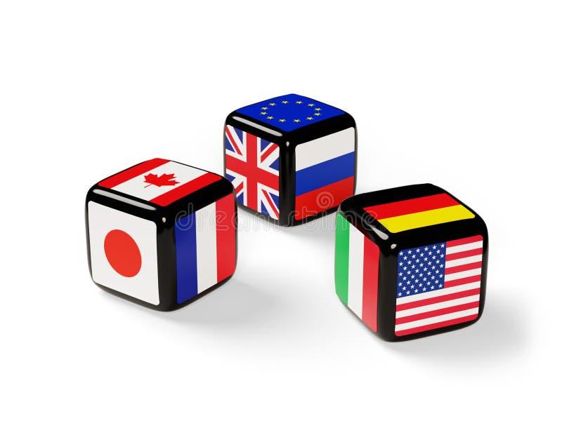 Tärning med flaggor G8 stock illustrationer
