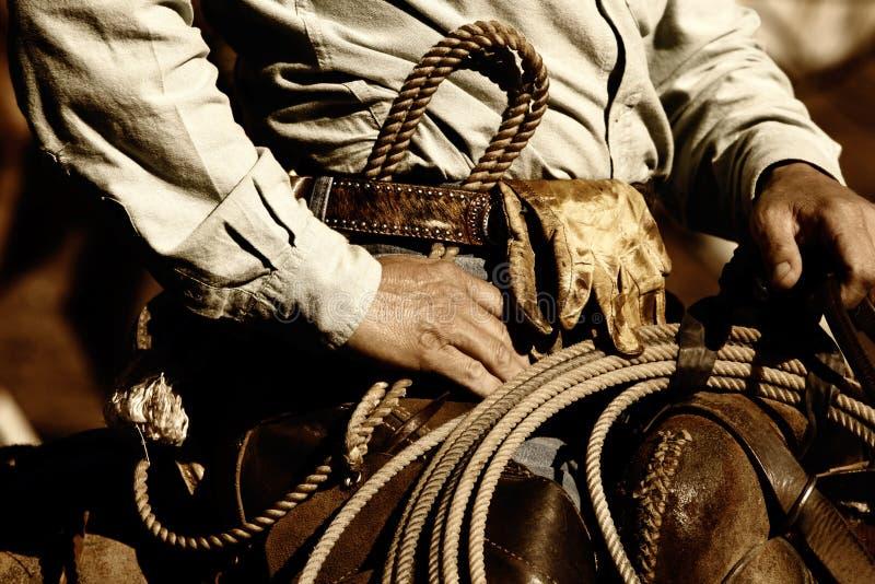 Tät Cowboy Som Fungerar Upp Royaltyfria Foton