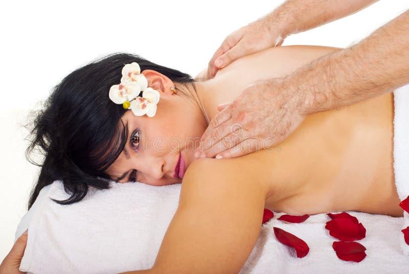 tät fående massage för back upp kvinna royaltyfri foto