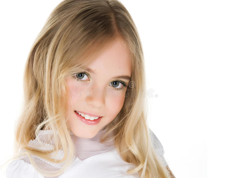 tät flicka little nätt övre för stående royaltyfri fotografi