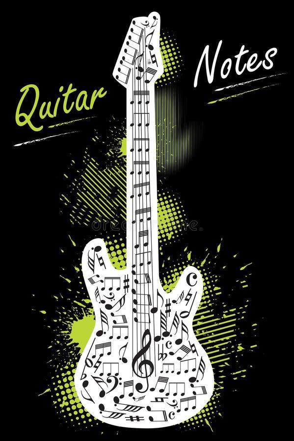 tät gitarr för bakgrund som isoleras upp white royaltyfri illustrationer
