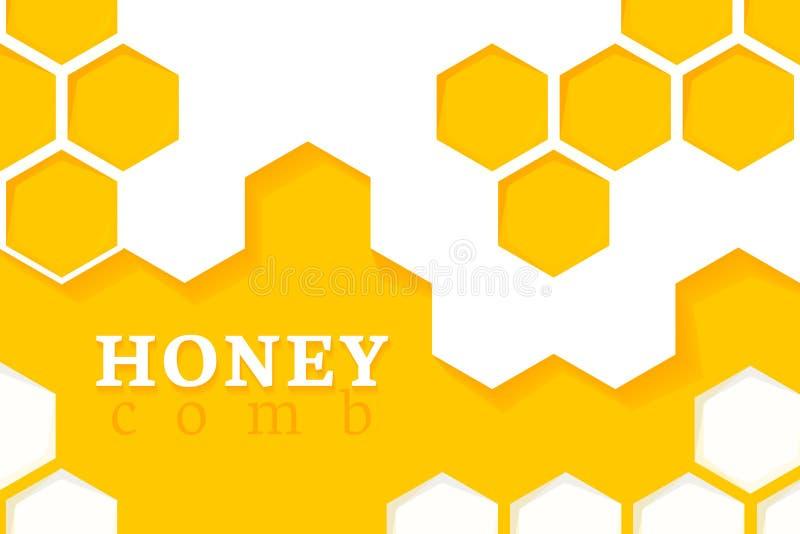 tät honungskakabild för bakgrund upp Vektorillustration av geometriska sexhörningar stock illustrationer