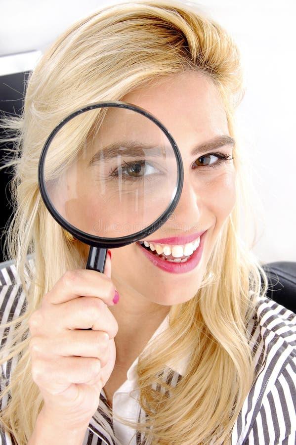 tät kvinnliglins som ser sikt arkivbild