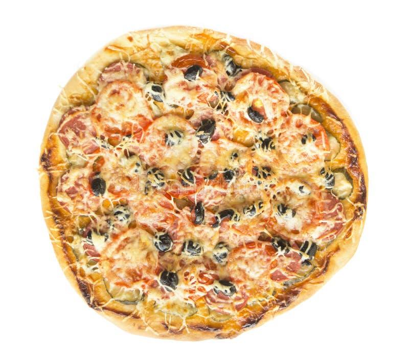 tät pizzasalami upp royaltyfri foto
