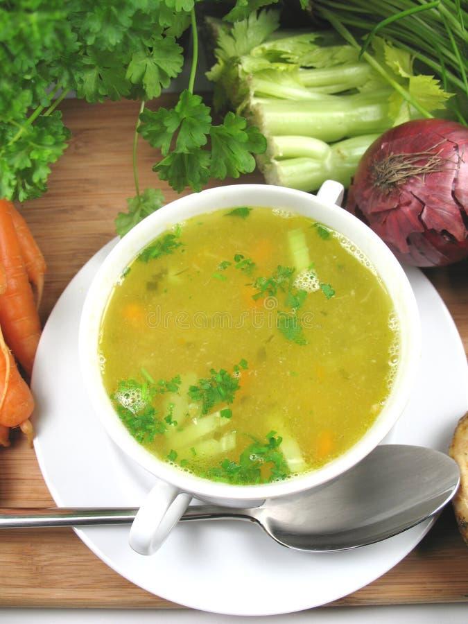Tät Soup För Höna Upp Arkivbild
