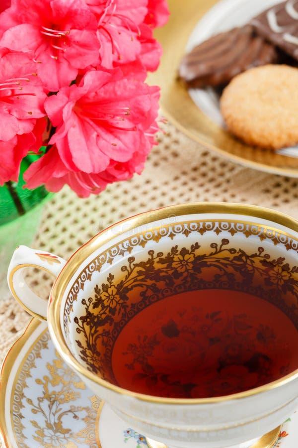 tät teacup upp tappning arkivfoton