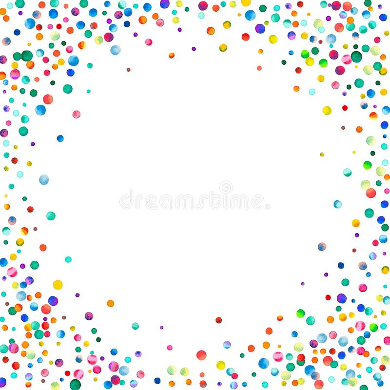 Täta vattenfärgkonfettier på vit bakgrund arkivfoto