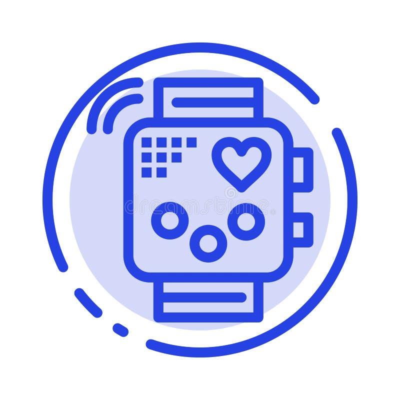 Tätigkeit, Gerät, Eignung, Herzschlag, Linie Ikone der Überwachungs-blauen punktierten Linie vektor abbildung
