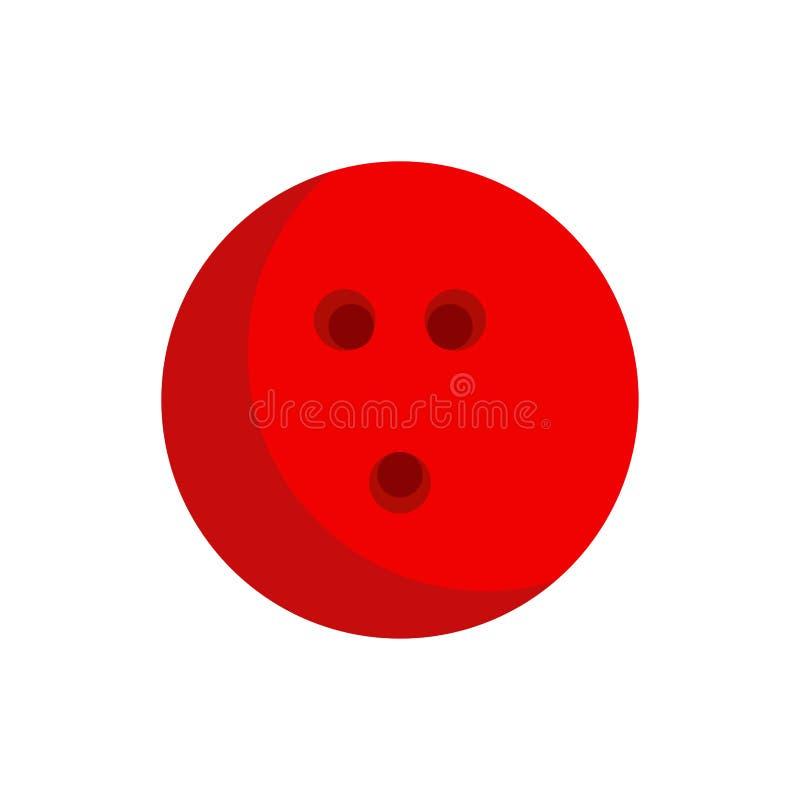 Tätigkeitserholungsbereichs der Bowlingkugel Vektor-Ikonenspiel des roten flaches Spaßsportschüsselausrüstungsclub-Herausforderun vektor abbildung