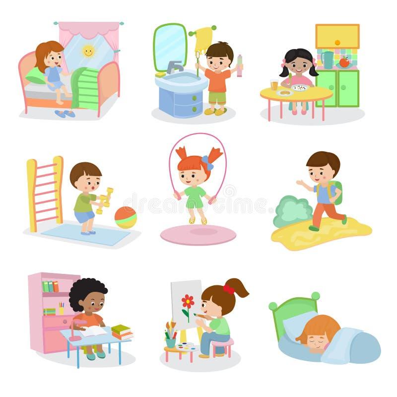 Tätigkeitsprogramm des Vektors der Kindertäglichen aktivitäten tägliches gesetzte Kinderim aktiven essenden Kind des Kindheitscha lizenzfreie abbildung
