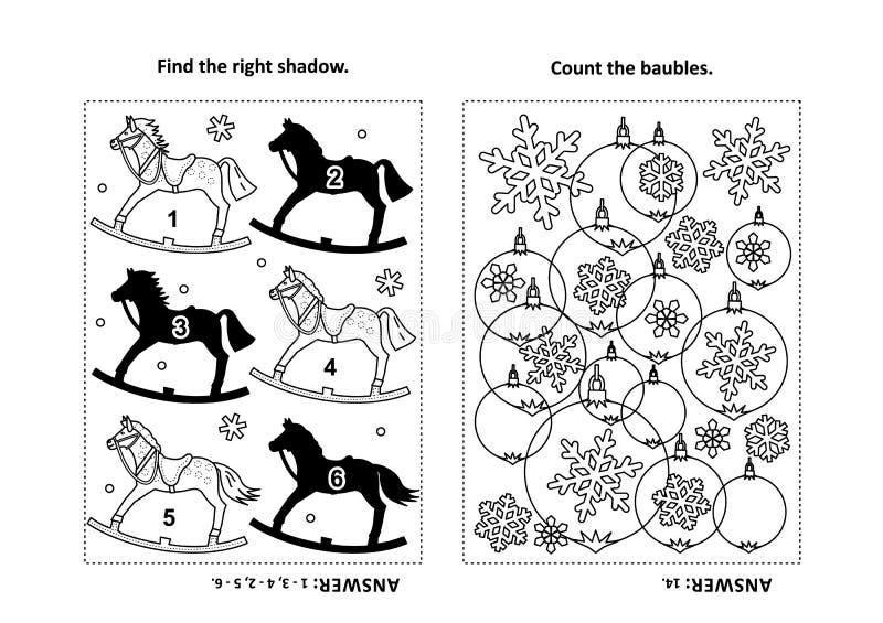 Tätigkeitsseite für Kinder mit Puzzlespielen und der Färbung - Schaukelpferd, Flitter, Schneeflocken stock abbildung