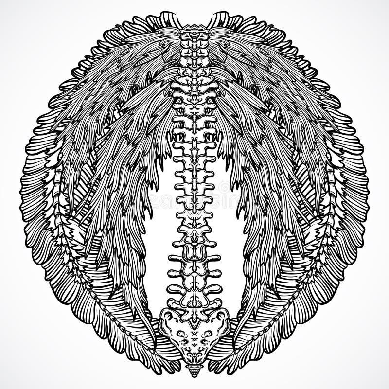 Tätowieren Sie Design mit dem Rückgrat und den aufwändigen Blumenflügeln Gezeichnete Illustration der Weinlese in hohem Grade aus vektor abbildung