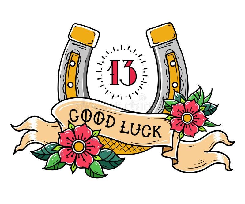 Tätowieren Sie Goldhufeisen mit Blumen, mystischer Nr. 13 und Band mit dem Beschriften des guten Glücks vektor abbildung