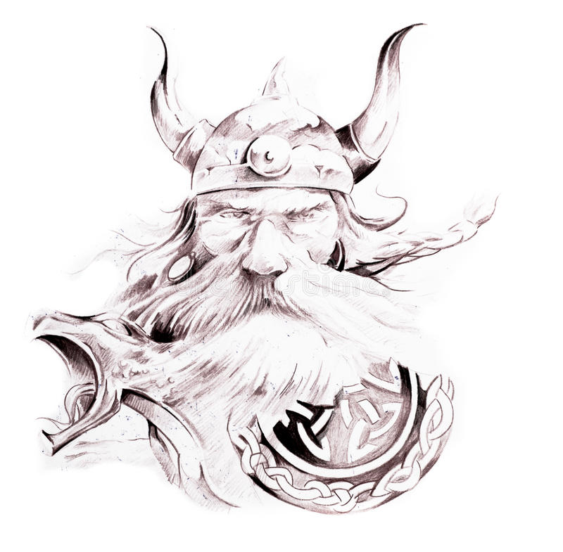 Tätowieren Sie Kunst, Skizze von einem Wikinger stock abbildung