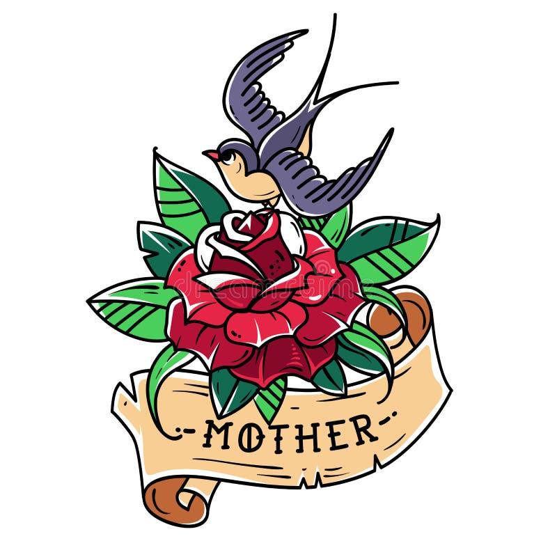 Tätowieren Sie Rotrose mit Band, Vogel und Beschriftung Mutter Alte Schulart Schwalbe sitzt auf stieg Symbol der Liebe für Mutter lizenzfreie abbildung