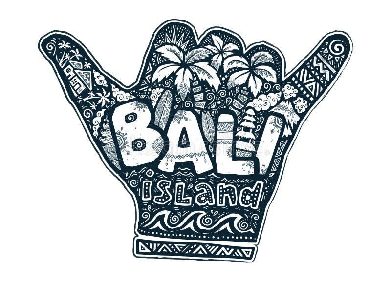 Tätowieren Sie Schmutzartvektorsurfer shaka Handschattenbild mit weißer Beschriftungs- und Gekritzelillustration nach innen bali stock abbildung