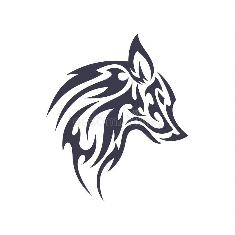 Tätowieren Sie Wolftiervektorlogo für einzigartiges modernes lokalisierte Illustrationen des Geschäfts Zeichen vektor abbildung