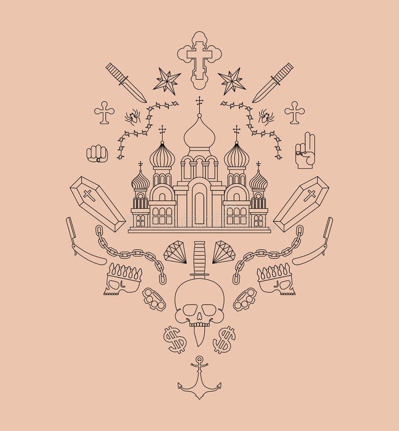 Tätowierung im russischen Gefängnis Kirche und Schädel Kreuz und Kette Stacheldraht und Kronen Diebstähle Russland unterzeichnet  lizenzfreie abbildung